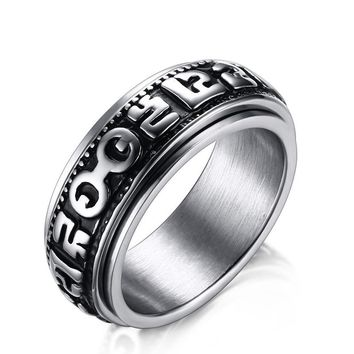 Alisouy 8mm width Spinner Rings for Men Stainless Steel Mantra Words Ring Jewelry Vintage finger ring for men women