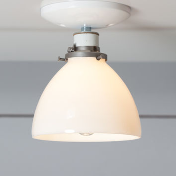 Milk Glass Shade Light - Ceiling Mount lamp - Semi Flush Mount