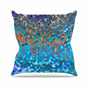 "Li Zamperini ""Turquoise Mandala Art"" Blue Aqua Outdoor Throw Pillow"
