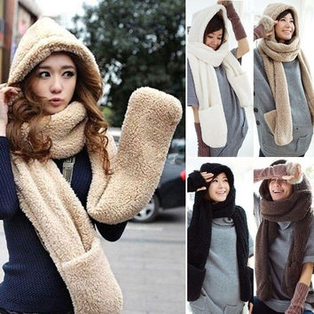 Women Girls Cute Winter Warm Soft Plush Faux Fur Hooded Cap Hat Scarves Scarf Gloves = 1931665412