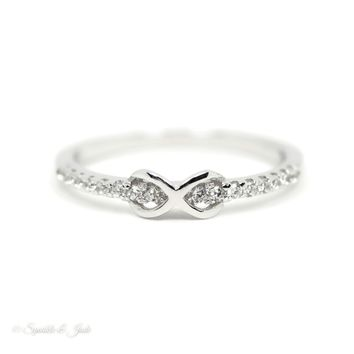 Sterling Silver Dainty CZ Infinity Ring