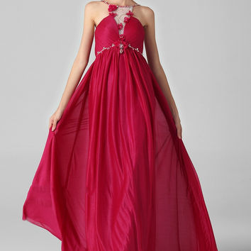 Spaghetti Strap Red Sweep Chiffon Prom Dresses with Appliques I035