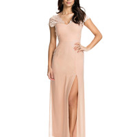 Short Sleeve V-Neck Lace Sheath Maxi Slit Dress