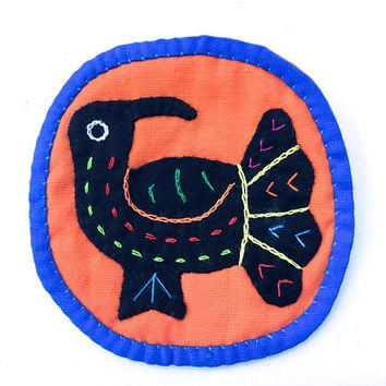 Vintage Mola Bird Patch~ Embroidery, Primitive Textile Folk Art~ Hand Stitched Colorful Bird Folk art Patch~ naturalist badge
