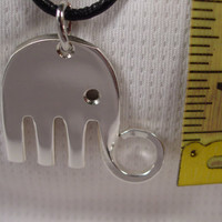 A Spoon Rings Plus Beautiful Fork Elephant Necklace Pendant on a Black Cord or a Thin Chain e16