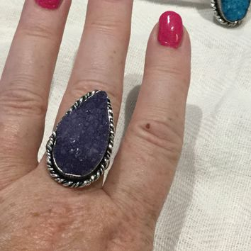Purple druzy sterling silver ring size 8