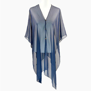 Navy Blue Multi-Way Sheer Cover Up Poncho Scarf with Buttons