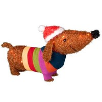Lighted Tinsel Dachshund w/ Sweater & Hat