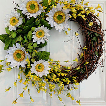 Sunflower Wreath with Yellow Flowers Front Door Spring Summer Easter Wreath