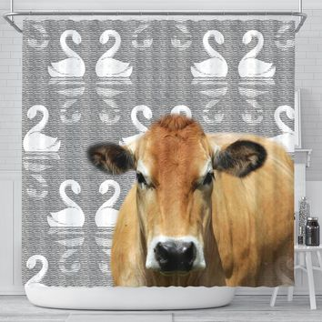 Cute Parthenaise Cattle (Cow) Print Shower Curtain-Free Shipping