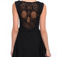 Mesh Skull Back Flare Skirt Dress