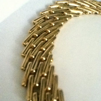 "Golden Panther Link Necklace String 17""L Strand Women Teens Polished Shiny Gift Fashion Jewelry Vintage"