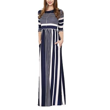 Navy Multiple Striped Pocket Style Maxi Dresses with Sleeves