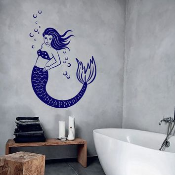 Wall Vinyl Mermaid Ocean Sea Cool Bathroom Decor Unique Gift z3937