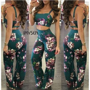 IMYSEN 2017 New Fashion Women Tracksuit Sets Digital Print Sexy Backless Sleeveless Female Sweatsuits Short Vest Long Trousers