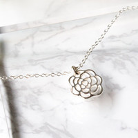 Silver Rose Necklace, Sterling Silver Rose Charm Necklace, Flower necklace, Flower Jewelry, Dainty Necklace, Simple necklace,  Gift Jewelry