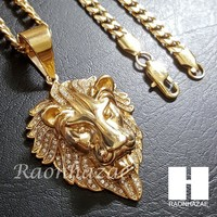 Iced Out 316L Stainless steel Gold Bling King Lion w/ 5mm Cuban Chain SG7