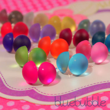 FUNKY SMALL ROUND ICE PEARL EARRINGS SWEET CUTE KITSCH RETRO DISCO POP GEM 80S