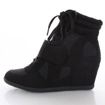f7d79e6d20ad Black Faux Suede High Top Lace Up Front Strap Sneaker Wedges   Amiclubwear  Wedges Shoes Store