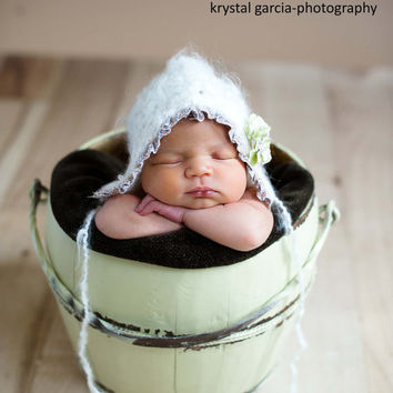 Newborn White Bonnet with Ruffle and Flowers