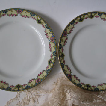 Antique Limoges Ahrenfeldt Blue Pink Luncheon Plate Pair