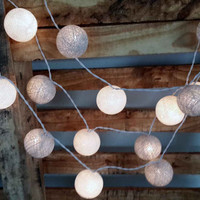 20 x white and silver cotton ball string light  wedding light party lantern indoor decor fairy