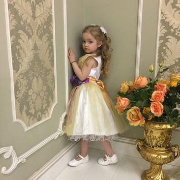 Off White Flower Girl Dress Ivory Flower Girl Dress Flower Girl Dress Lace Rustic Flower Girl Dress Boho Flower Girl Dress Birthday dress