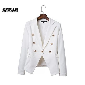SEYAM Women Blazer Gold Button Single Breasted Winter 2016 Full Sleeve Female Slim Office Wear to Work Blazer Jacket ow0255