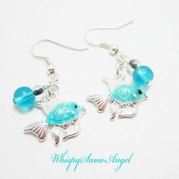 Aqua Fish Earrings Sea Glass Beads Silver Plate Fish Charms Bubbles