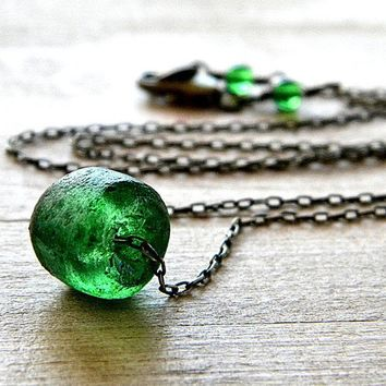 Emerald Green Recycled Glass Antiqued Brass by GlitzGlitter