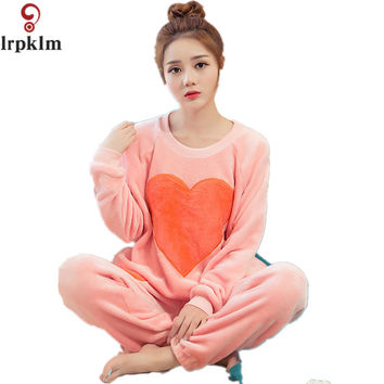 Women Girls Sleep Lounge Home Long Sleeve O-neck Heart Sweatshirts Long Pants Autumn Winter Warm Fleece Soft Pajama Sets SY339
