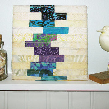 Small Art Quilt, Abstract Wall Hanging, Modern Fiber Art