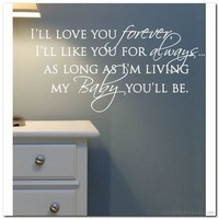 I'll Love you Forever Vinyl Lettering Wall Words by itwaddle
