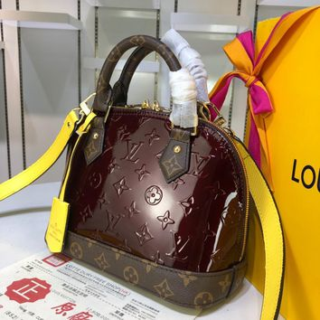 DCCK 1584 Louis Vuitton LV 3D Hot-stamping Monogram Vernis Toron Canvas Handbag Wine Red