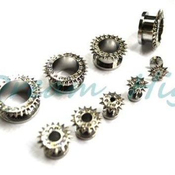 Newest Style Flesh Tunnels Stainless Steel Gem Cone Ear Plugs Jewelled Ear Expander Fashion Body Piercing Jewelry