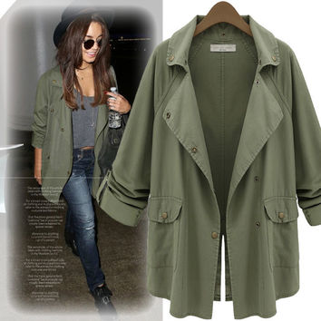Turn-down Collar Long Sleeves Casual Button Short Big Coat