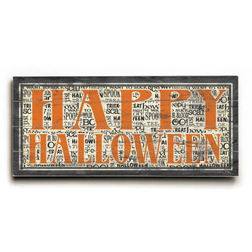 Happy Halloween by Artist Misty Diller Wood Sign