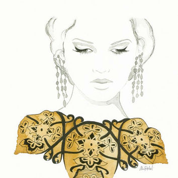 What Lies Behind the Eyes - Print of original watercolor and pen fashion illustration by Lexi Rajkowski home decor, gold, art, vanity decor