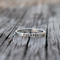 Personalized Sterling Silver Stackable Rings - Customizable Name Jewelry - Stacker Stacking Rings