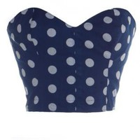 Blue 50s Style Pin-Up Polka Dot Bustier