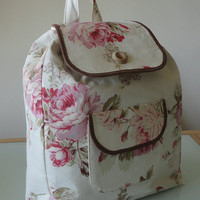 Handmade Drawstring Backpack - in Vinage style Floral Cotton with wooden buttons