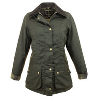 Barbour Beadnell Ladies Classic Sage Green Wax Jacket