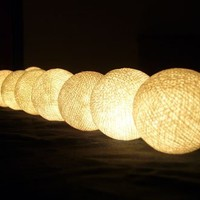 White Cotton Ball Patio Party String Lights (20/set)