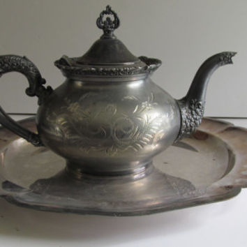 1898 STUNNING Antique Silver Teapot  Van Bergh S.P. Co #5 Victorian Tea Party Antique Teapots