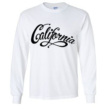 California Beach Script Black Print Long Sleeve Shirt