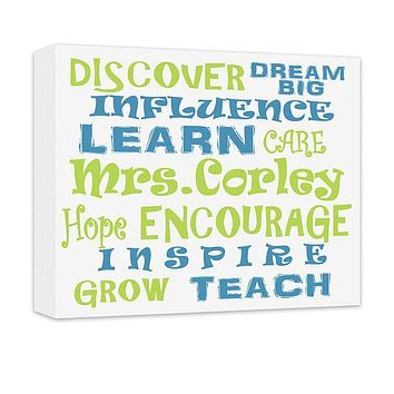 Personalized Teacher's Influence Word Collage Canvas Wall Art