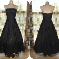 Vintage 90s Retro 50s Black Mesh Rhinestone Full Sweep Party Dress Sz 4 Strapless Cocktail Gown McClintock