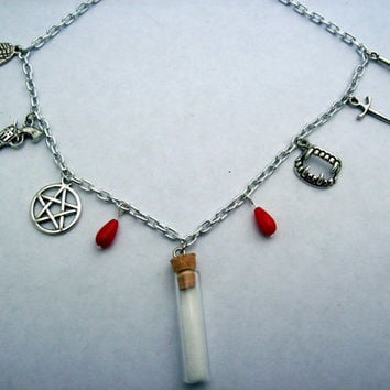 Supernatural charm chain necklace by JinxyJewels on Etsy