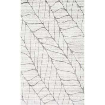 nuLOOM Contemporary Granite Abstract Leaves Grey Rug (3' x 5') | Overstock.com Shopping - The Best Deals on 3x5 - 4x6 Rugs