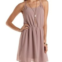 Lace-Trim Pleated Racerback Dress by Charlotte Russe - Mauve